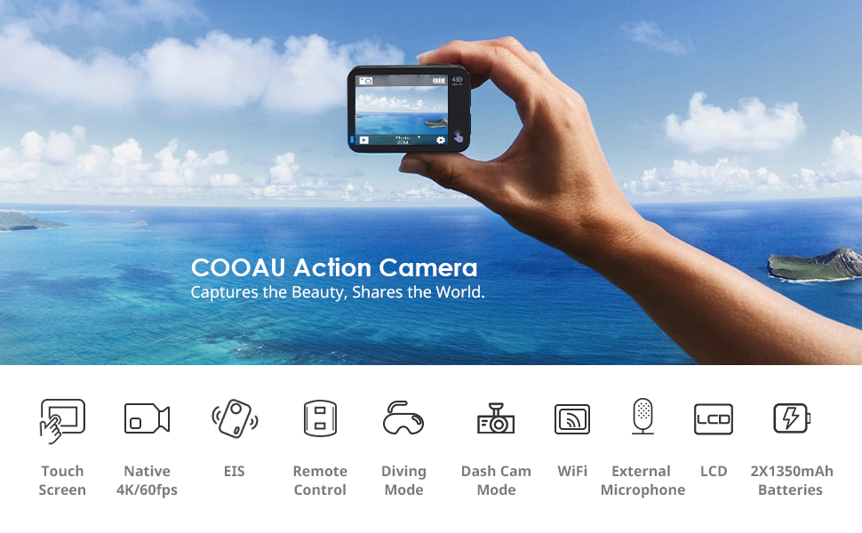 89363ea8 63a6 4b13 9251 84ad61ae67e3.  CR0,0,970,600 PT0 SX970 V1    - COOAU Native 4K 60fps 20MP Touch Screen WiFi Action Sport Camera EIS Stabilization Underwater Waterproof Cam with External Microphone Remote Control 2x1350Amh Batteries