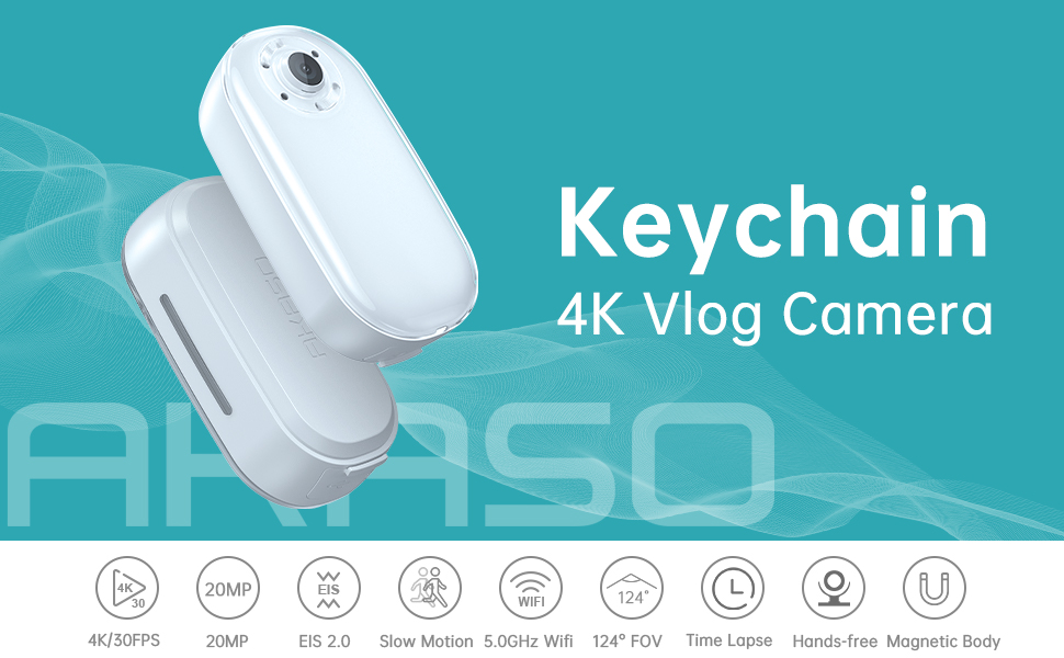 c05db138 0365 4a0a b3b2 b6db9480836a.  CR0,0,970,600 PT0 SX970 V1    - AKASO Keychain Body Action Camera 4K30FPS 20MP with EIS 2.0 and 60min Video Recording Slow Motion Time Lapse Hands-Free Mini Vlogging Camera On-The-Go