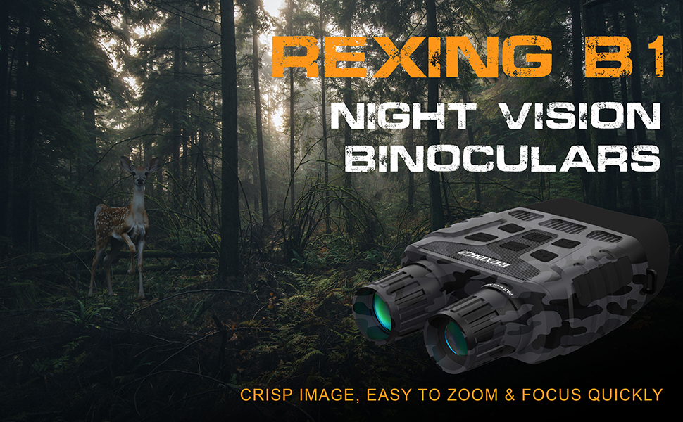 37041a9e 4857 4012 8f4a c771bf3696f0.  CR0,0,970,600 PT0 SX970 V1    - Rexing B1 Night Vision Goggles Binoculars with LCD Screen, Infrared (IR) Digital Camera, Dual Photo + Video Recording for Spotting, Hunting, Tracking up to 300 Meters (Camo)