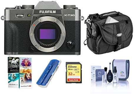 41+G89IFrPL. AC  - Fujifilm X-T30 Mirrorless Digital Camera Body, Charcoal Silver - Bundle with Camera Case, 32GB U3 SDHC Card, Cleaning Kit, Card Reader, PC Software Package
