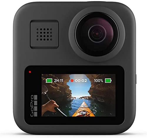 419cdkQpwrL. AC  - GoPro MAX Waterproof 360 Camera with Touch Screen, 5.6K30 UHD Video 16.6MP Photos 1080p Live Streaming Bundle with Hand Grip, Battery, 32GB microSD Card, Cleaning Kit