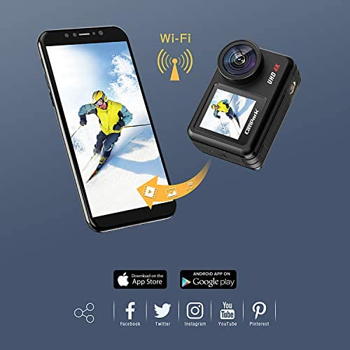 41UA9X4RGSL. AC  - Campark V40 Action Camera Dual Screen 4K/30FPS WiFi Touch Screen EIS Remote Control Vlog Camera 20MP Waterproof Camera 131 Feet Webcam with 2X 1350mAh Batteries and Accessories