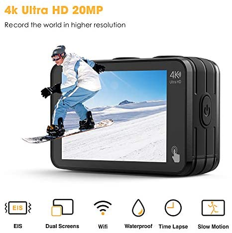41grRVYef9L. AC  - Campark V40 Action Camera Dual Screen 4K/30FPS WiFi Touch Screen EIS Remote Control Vlog Camera 20MP Waterproof Camera 131 Feet Webcam with 2X 1350mAh Batteries and Accessories