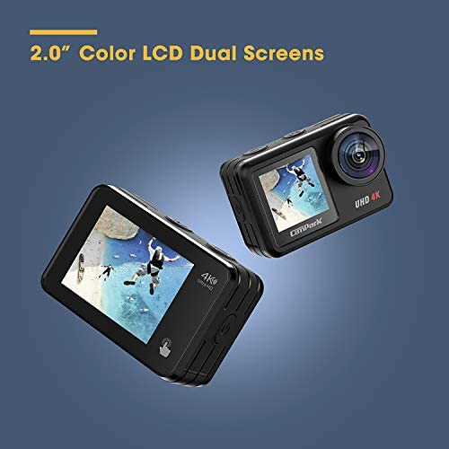 41yon9DmFLL. AC  - Campark V40 Action Camera Dual Screen 4K/30FPS WiFi Touch Screen EIS Remote Control Vlog Camera 20MP Waterproof Camera 131 Feet Webcam with 2X 1350mAh Batteries and Accessories