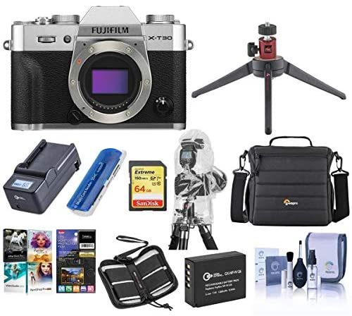 51AEkv8hsVL. AC  - Fujifilm X-T30 Mirrorless Digital Camera Body - Silver - Bundle with Camera Case, 64GB U3 SDXC Card, Spare Battery, Table Top Tripod, Compact Charger, Software Package, Cleaning Kit, and More