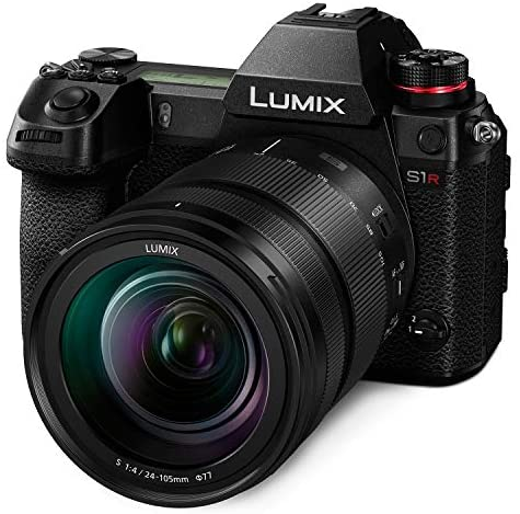 """51F8O0XFebL. AC  - Panasonic LUMIX S1R Full Frame Mirrorless Camera with 47.3MP MOS High Resolution Sensor, 24-105mm F4 L-Mount S Series Lens, 4K HDR Video and 3.2"""" LCD - DC-S1RMK"""