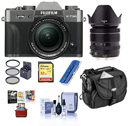 51HYZyYNG9L. AC  - Fujifilm X-T30 Mirrorless Camera with XF 18-55mm f/2.8-4 R LM OIS Lens Charcoal Silver - Bundle with Camera Case, 32GB U3 SDHC Card, Cleaning Kit, Card Reader, 58mm Filter Kit, Mac Software Package