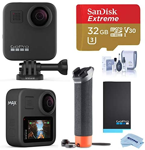 51L1X78kXNL. AC  - GoPro MAX Waterproof 360 Camera with Touch Screen, 5.6K30 UHD Video 16.6MP Photos 1080p Live Streaming Bundle with Hand Grip, Battery, 32GB microSD Card, Cleaning Kit