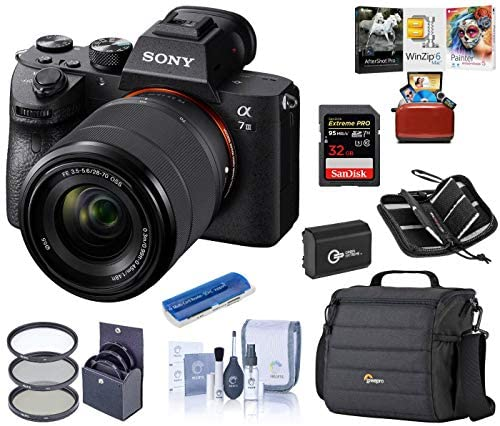 51QaXtIRUaL. AC  - Sony Alpha a7III Full-Frame 4K UHD Mirrorless Digital Camera with 28-70mm Lens Bundle with Camera Bag + Extra Battery + Filter Kit + Mac Software Kit + 32GB SD Card + SD Card Case + Cleaning Kit