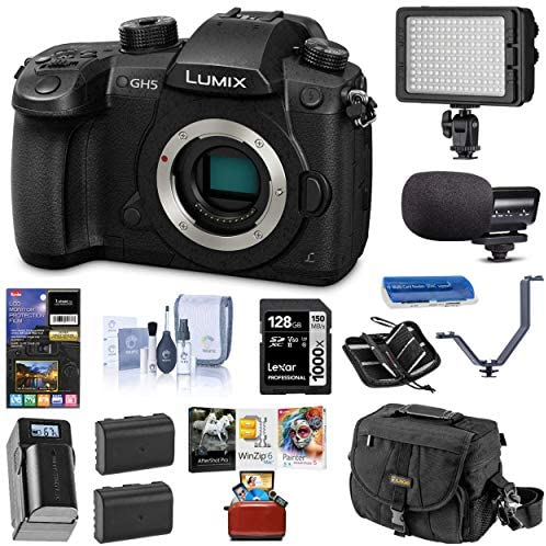 51SiSGiGzFL. AC  - Panasonic LUMIX GH5 4K Mirrorless Digital Camera, DC-GH5 (Body), Bundle with Light, Mic, Bag, 2 Battery, Charger, Mac Software Pack, 128GB SD Card + Case, 3 Shoe Bracket, LCD Protector, Cleaning Kit