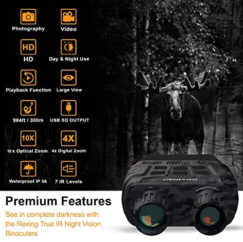 51TZ5cyo6wL. AC  - Rexing B1 Night Vision Goggles Binoculars with LCD Screen, Infrared (IR) Digital Camera, Dual Photo + Video Recording for Spotting, Hunting, Tracking up to 300 Meters (Camo)