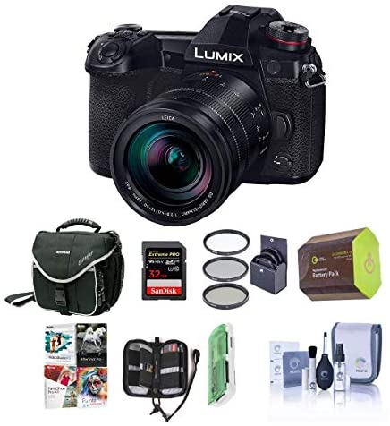 51W466w1HVL. AC  - Panasonic Lumix G9 Mirrorless Camera, Black with Lumix G Leica DG Vario-Elmarit 12-60mm F/2.8-4.0 Lens - Bundle With 32GB SDHC U3 Card, Spare Battery, Camera Case, Cleaning Kit, Software Pack And More