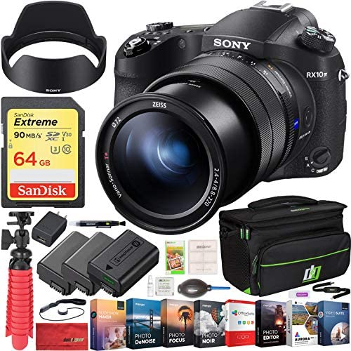 51Z3 v2oj9L. AC  - Sony RX10 IV Cyber-Shot High Zoom 20.1MP Camera with 24-600mm F.2.4-F4 Lens Bundle with 64GB Memory Card, Camera Bag, 2X Battery and Photo and Video Professional Editing Suite
