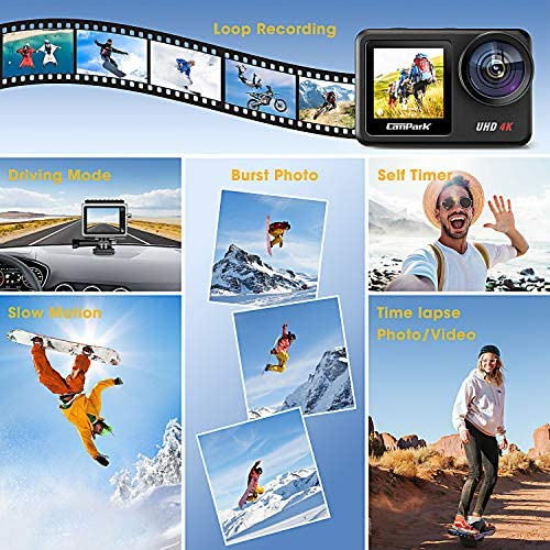 51ZL8PC6mdL. AC  - Campark V40 Action Camera Dual Screen 4K/30FPS WiFi Touch Screen EIS Remote Control Vlog Camera 20MP Waterproof Camera 131 Feet Webcam with 2X 1350mAh Batteries and Accessories