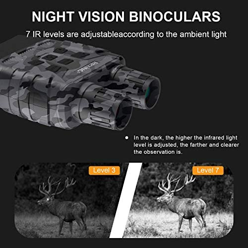 51Zl5HgVN+L. AC  - Rexing B1 Night Vision Goggles Binoculars with LCD Screen, Infrared (IR) Digital Camera, Dual Photo + Video Recording for Spotting, Hunting, Tracking up to 300 Meters (Camo)