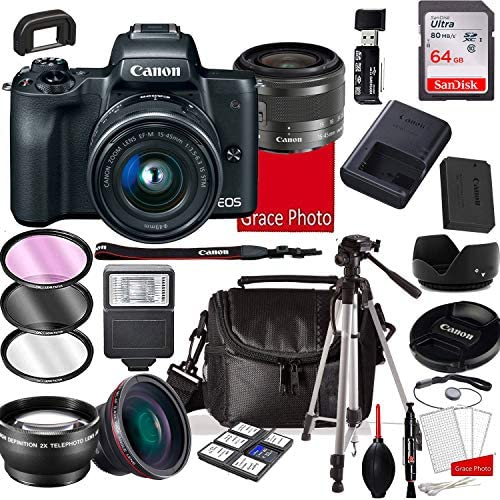51a1i8dupVL. AC  - EOS M50 Mirrorless Digital Camera with 15-45mm Lens, 64GB Memory,Case, Tripod and More (28pc Bundle)