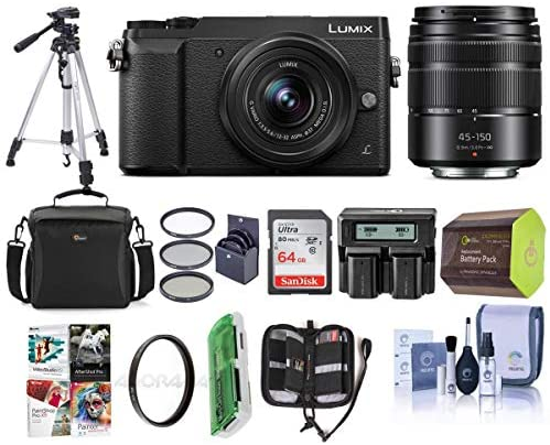 51dakI2KCAL. AC  - Panasonic Lumix DMC-GX85 Mirrorless Camera Black, with Lumix G Vario 12-32mm f/3.5-5.6 and 45-150mm F4.0-5.6 Lenses - Bundle with Camera Case, 32GB SDHC Card, Tripod, Software Package, and More
