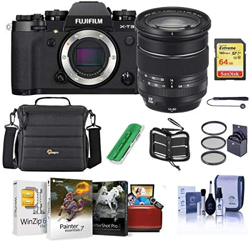 51fq2CTmqeL. AC  - Fujifilm X-T3 Mirrorless Camera with XF 16-80mm F4.0 R OIS WR Lens, Black - Bundle with 64GB SDXC Card, Camera Case, 72mm Filter Kit, Cleaning Kit, Memoery Wallet, Card Reader, Mac Software Pack