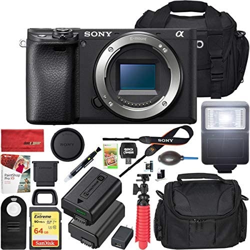 51hAtpDNpyL. AC  - Sony a6400 4K Mirrorless Camera ILCE-6400/B Body Only with Travel Case Gadget Bag and Deco Gear Deluxe Cleaning Kit Extra Battery Remote & Flash Bundle