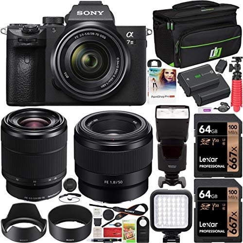 51jaIKEEF3L. AC  - Sony ILCE-7M3K/B a7III Full Frame Mirrorless Camera with 2 Lens Kit SEL2870 FE 28-70 mm F3.5-5.6 OSS + SEL50F18F FE 50mm F1.8 Bundle with 2X 64GB Memory, Deco Gear Case and Accessories (15 Items)