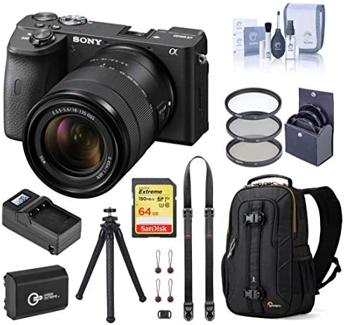 51mRzLeB7lL. AC  - Sony Alpha a6600 Mirrorless Digital Camera with 18-135mm Lens Travel Bundle with Backpack, Battery, Charger, Neck Strap, Tripod, 64GB SD Card, and Accessories