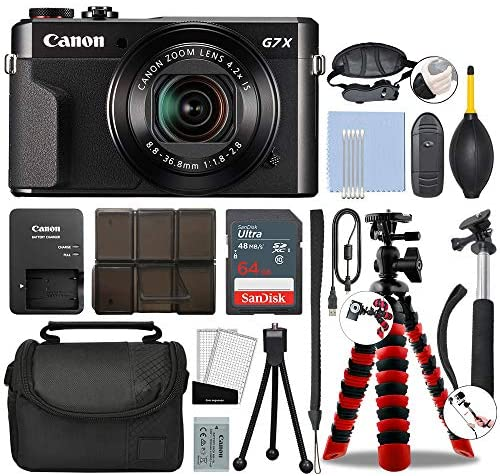 51nmFi8DPvL. AC  - Canon PowerShot G7 X Mark II Digital Camera 20.1MP with 4.2X Optical Zoom Full-HD Point and Shoot Kit Bundled with Complete Accessory Bundle + 64GB + Monopod + Case & More - International Model