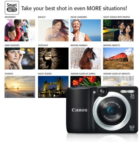 51soBqdEz6L. AC  - Canon PowerShot A1400 16.0 MP Digital Camera with 5x Digital Image Stabilized Zoom 28mm Wide-Angle Lens and 720p HD Video Recording (Black) (OLD MODEL)
