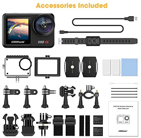 51uAwW+R7bL. AC  - Campark V40 Action Camera Dual Screen 4K/30FPS WiFi Touch Screen EIS Remote Control Vlog Camera 20MP Waterproof Camera 131 Feet Webcam with 2X 1350mAh Batteries and Accessories