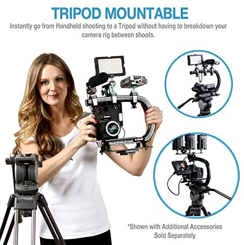 51ytdB2HEdL. AC  - Cam Caddie Scorpion EX Video Camera Stabilizing Handle Kit with Included Smartphone and GoPro Compatible Mounts - Professional Bundle - Black