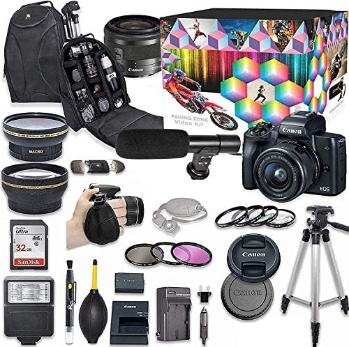 61hcbisJQ1L. AC  - Canon EOS M50 Mirrorless Digital Camera with 15-45mm Lens Kit (Black) + Wide Angle Lens + 2X Telephoto Lens + Flash + SanDisk 32GB SD Memory Card + Video Accessory Bundle