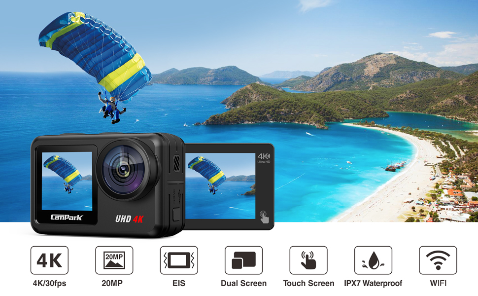 a5873a69 30ec 4641 b2f7 a12e333ad774.  CR0,0,970,600 PT0 SX970 V1    - Campark V40 Action Camera Dual Screen 4K/30FPS WiFi Touch Screen EIS Remote Control Vlog Camera 20MP Waterproof Camera 131 Feet Webcam with 2X 1350mAh Batteries and Accessories